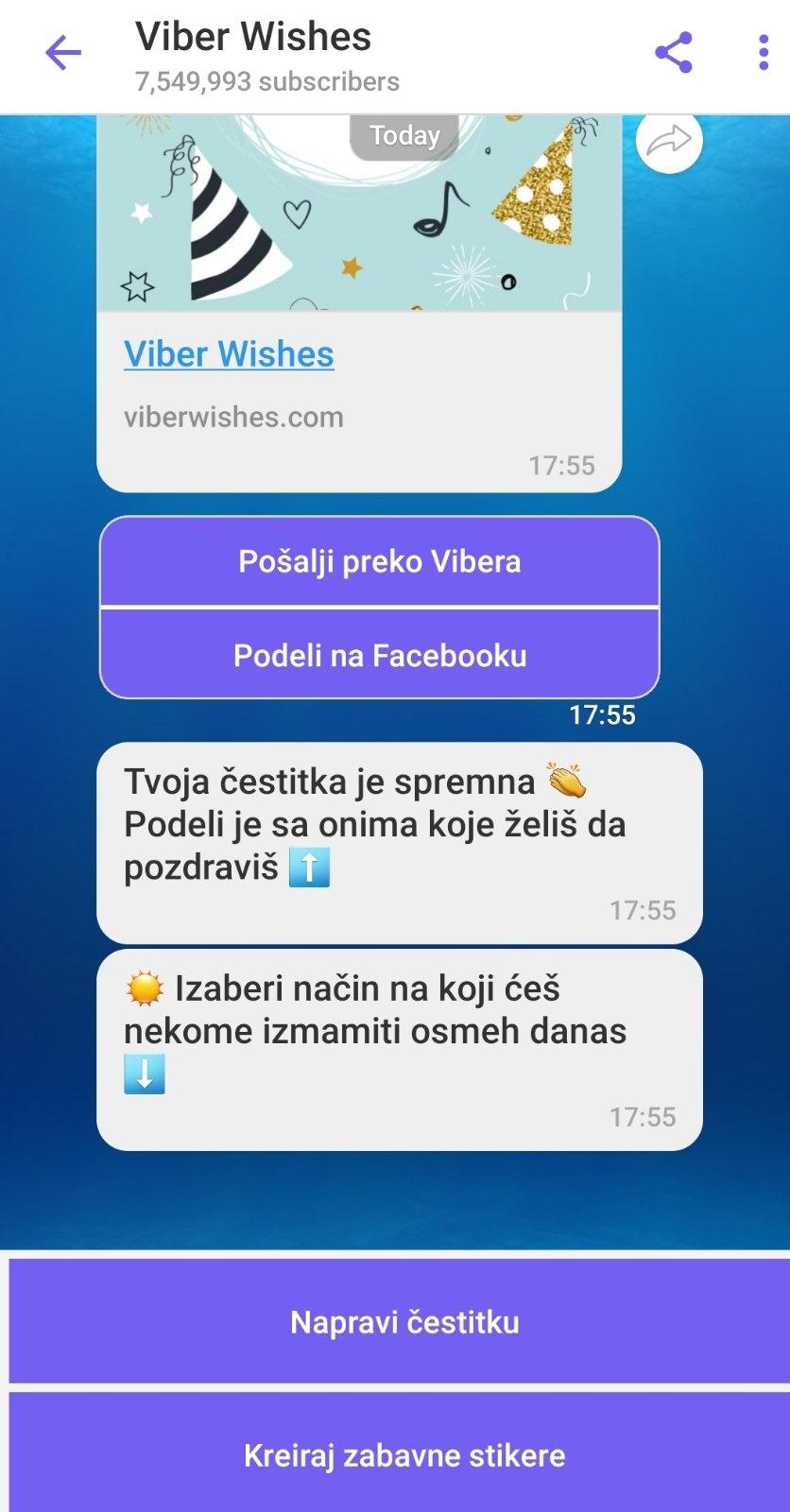 Viber Wishes Srbija chat bot - ITNetwork