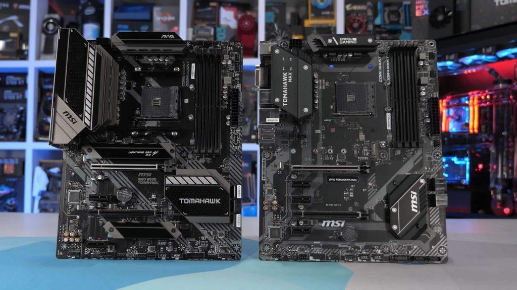 AMD B350 vs B450 vs B550 Tomahawk